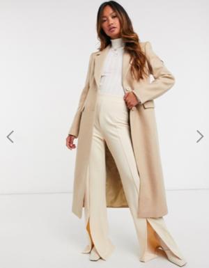 & Other Stories herringbone hourglass coat in beige