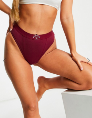 ASOS DESIGN Two mile high waist and high leg brazilian in oxblood
