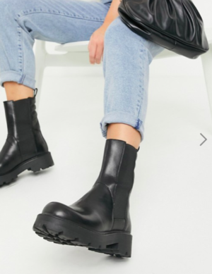 Vagabond Cosmo flat ankle calf boot in black