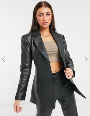 ASOS DESIGN premium leather suit in black